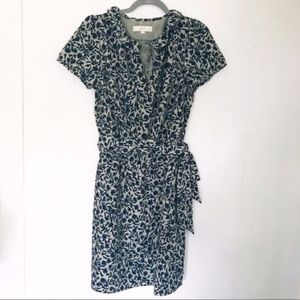 LOFT Short Sleeve Belted Floral Dress
